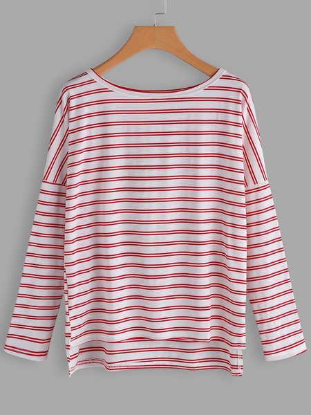 PinK & White Stripe Scoop Neck Bat Sleeves T-shirts