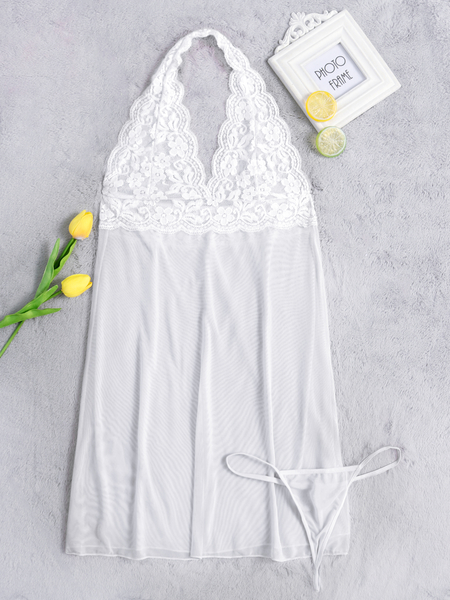 White Halter Hollow Design Lace Insert Pajamas Dress with T-back