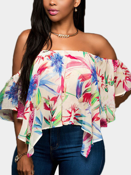 Random Floral Print Blouse With Off Shoulder