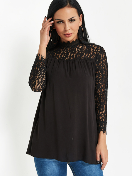 Black Stand Collar Lace Trim Ruffle Design Blouse