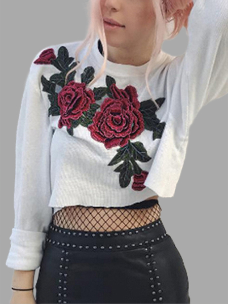 White Floral Embroidered Long Sleeves Crop Sweatshirt