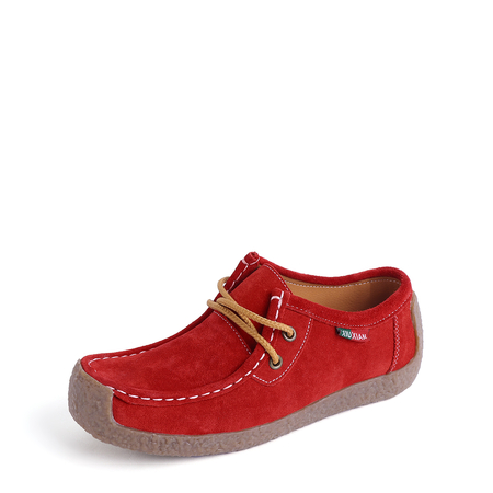 Red Casual Lace-up Suede Flats