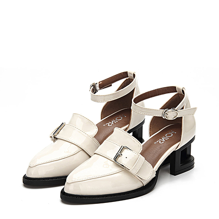 Apricot Leather Look Ankle Strap Hollow Heel Buckle Shoes