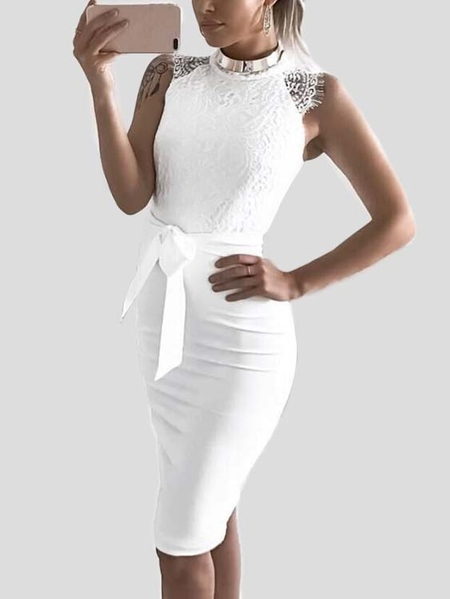 White Eyelash Lace Crew Neck Sleeveless Dress