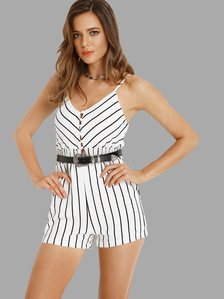 Plunge V-neckline Stripe Playsuit with Single Breasted in White