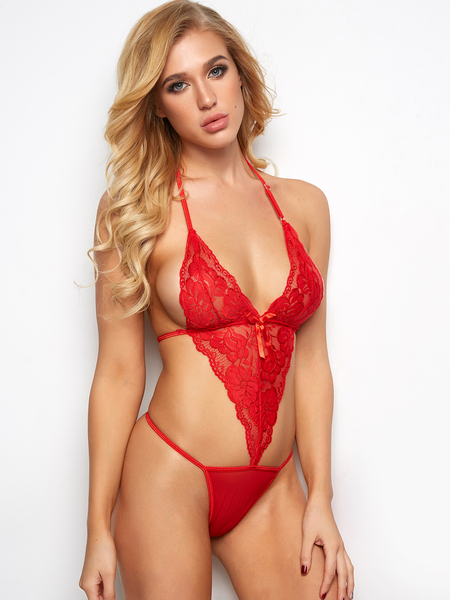 Red Sexy Lace Bodysuit Halter Backless Teddy