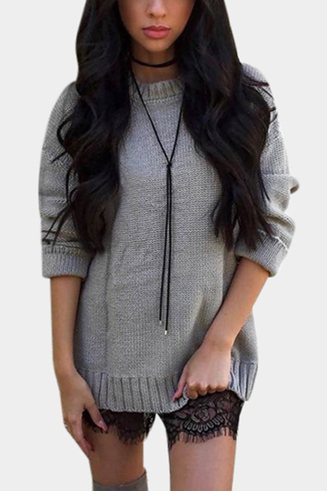 Grey Lace-up Back Crew Neck Pullover Knitted Sweater