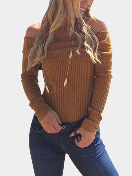 khaki Off Shoulder Layered Long Sleeves Striped Bodysuit