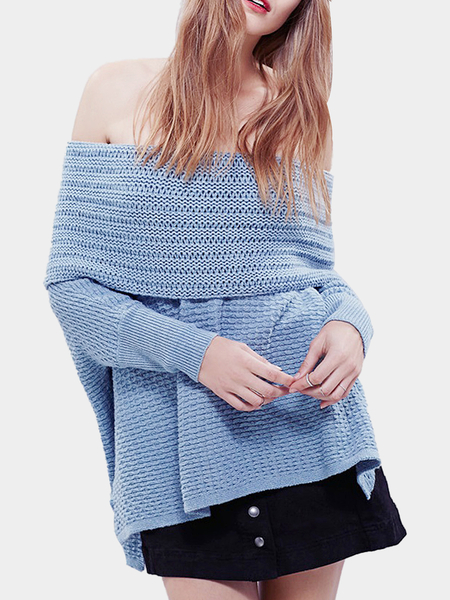 Blue Off Shoulder Kint Dolman Sleeve Sweater