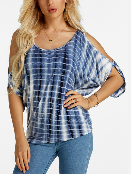 Blue Random Floral Print Cold Shoulder Tie-up at Back Tee