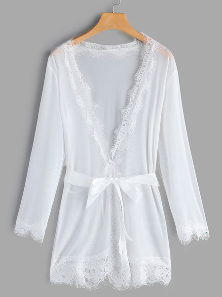 White Sexy Deep V-neck Lace Trim Night Robe with T-back
