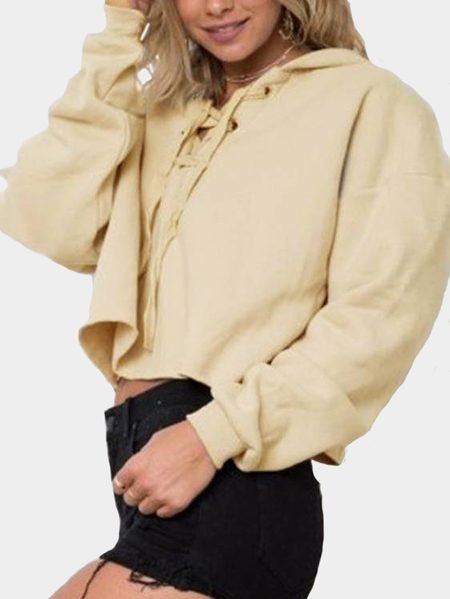 Apricot Hooded Lace-Up Long Sleeves Crop Hoodie