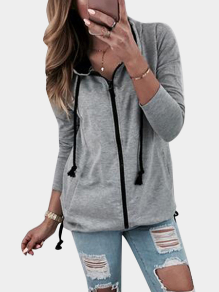 Grey Hooded Design Long Sleeves Zip Front Fastening Coat With Slip Pockets