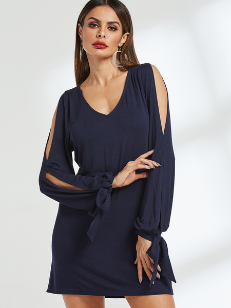 Navy Cut Out Slit Design V-neck Tie-up Sleeves Dress