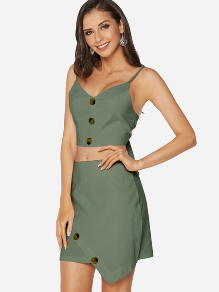 Green Spaghetti V-neck Self-tie Design Bodycon Co-ord
