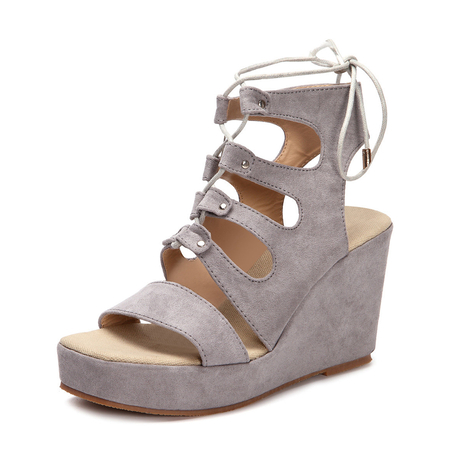 Grey Suede Lace-up Design Wedge Sandals