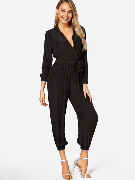 Black Deep V Neck Self-tied Long Sleeves High-waisted Playsuit