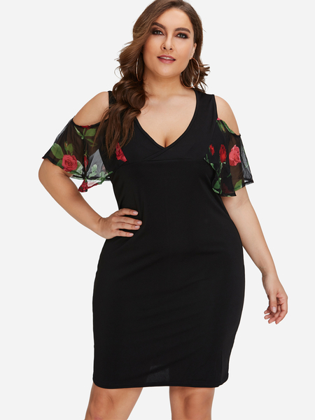 Plus Size Black Cold Shoulder Floral Sleeves Dress