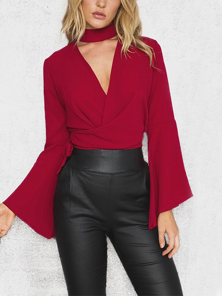 Burgundy Fashion Halter Cut Out Crossed Front Self-tie Flare Sleeves Crop Top