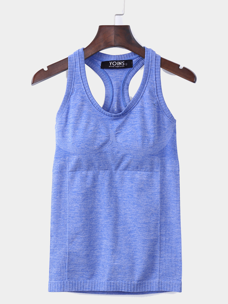 Blue Sports Racer Back Tank Top