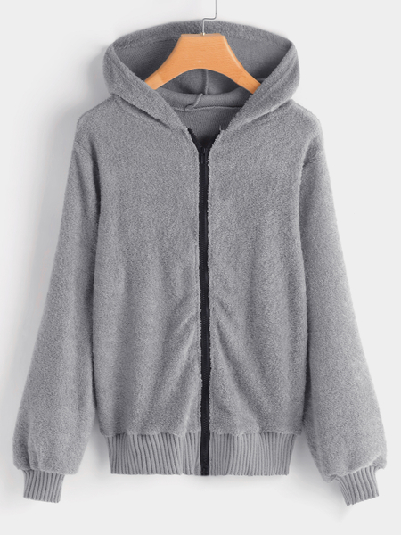 Grey Zip Up Fluffy Faux Fur Hooded Design Coat