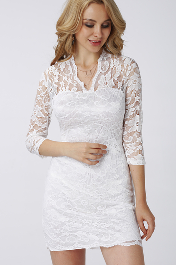3/4 Length Sleeves Lace Dress in White