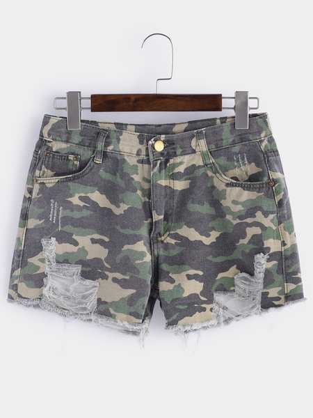 Camouflage Ripped Pattern Low-waisted Shorts