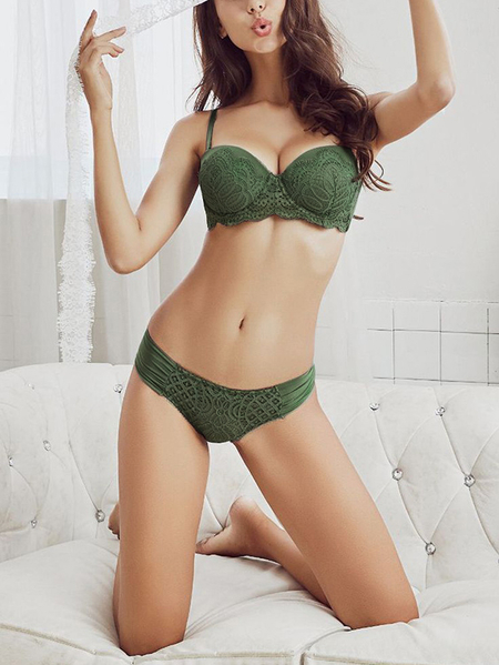 Green Lace Insert Underwire Bra Set