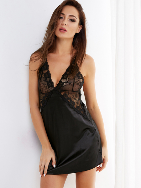 Black V-neck Lace Details Backless Pajamas