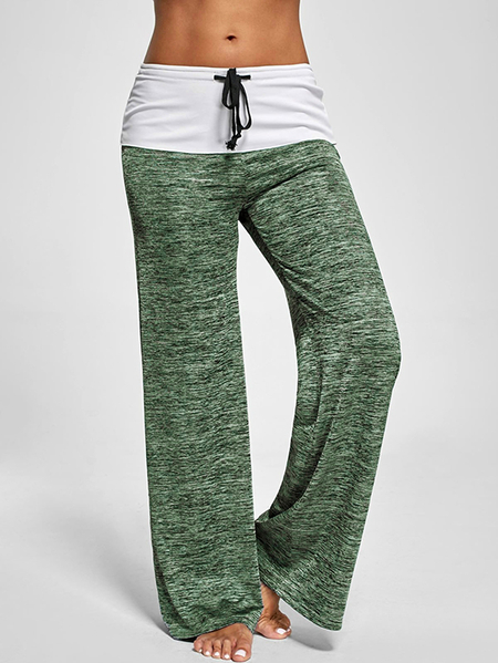Active Wide Leg Stretch Waistband Pants With Stitching Design in Green