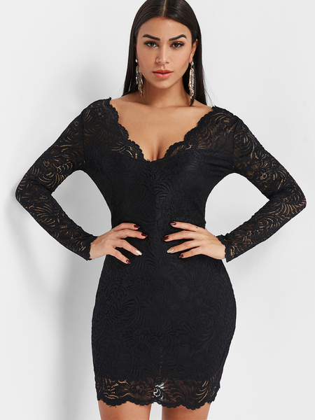 Backless Lace Mini Dress in Black