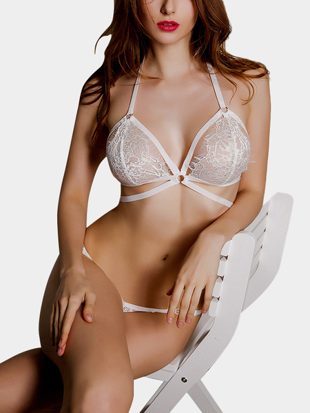 White Sexy Sleeveless Strappy Lace Bralet with No Falsies