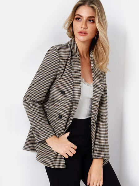 Grid Lapel Collar Long Sleeves Button Design Coat