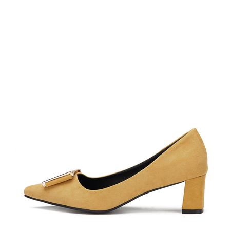 Yellow Suede-look Pointed Toe Heels