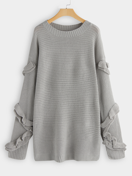 Grey Crew Neck Ruffle Design Knitting Sweater