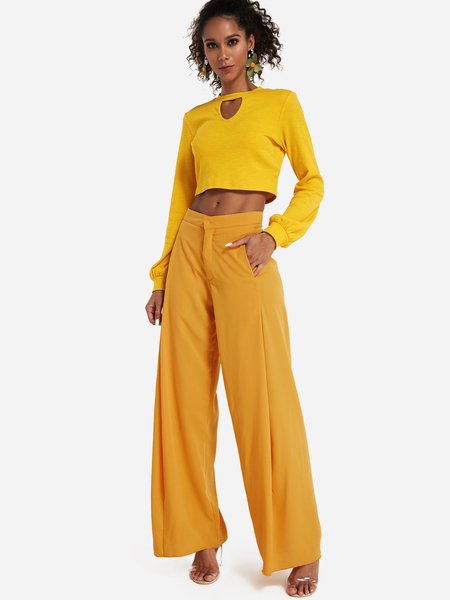 Yellow Side Pockets Wide Leg Long Pants