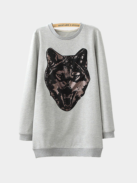 Grey Longline Sweatshirt with Foil Tiger Logo