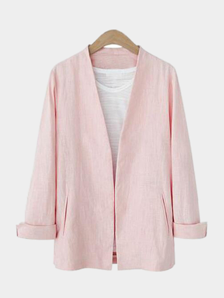 Plain Pink Color Plugne Coat with Shoulder Pad