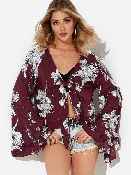 Burgundy Self-tie Design Random Floral Print V-neck Blouse