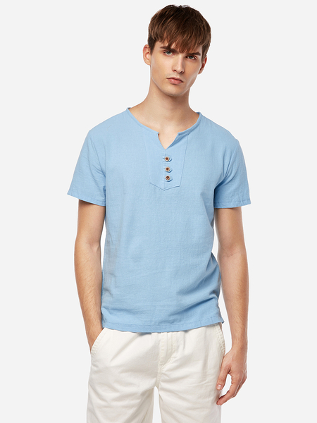 Yoins Chinese Style Sky Blue V Neck Front Button Design Men's Casual T-Shirt