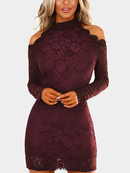 Burgundy Lace Cold Shoulder Long Sleeves Mini Dress