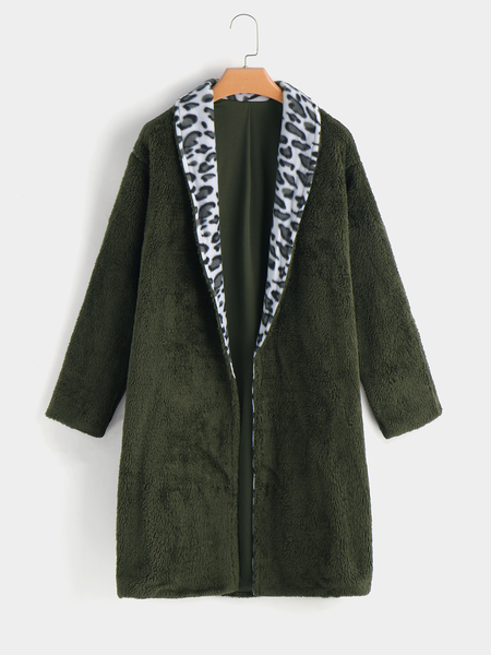 Army Green Plain Lapel Collar Long Sleeves Faux Fur Coat