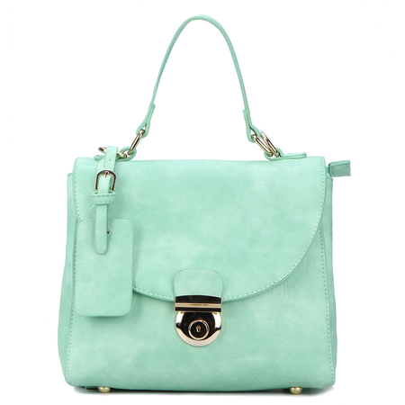Green Leather-look Handbag with twin roomy compartments Design