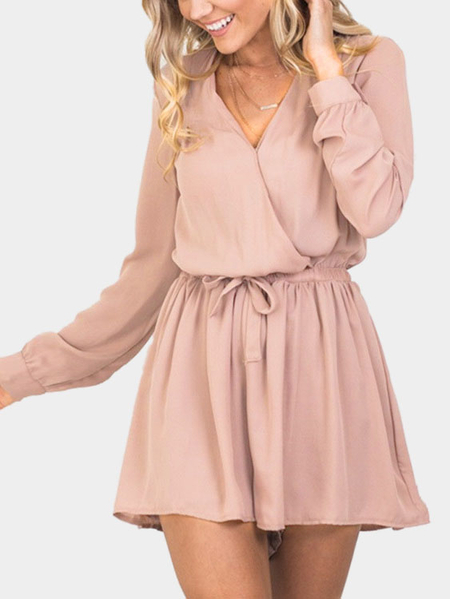 Chiffon V-neck Cross front Playsuit in Apricot
