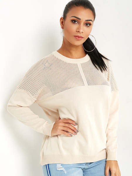 Beige Hollow Out Crew Neck Knit Jumper