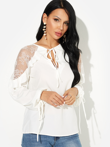 White Lace Insert V-neck Long Sleeves Stitching Blouse