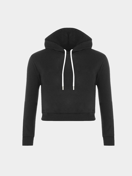 Plain Black Color Double Straps Front Hooded Crop Sweater