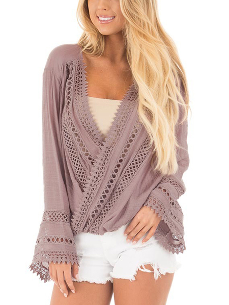 Pink Mauve Surplice Crossover Front Drape Top with Crochet Details