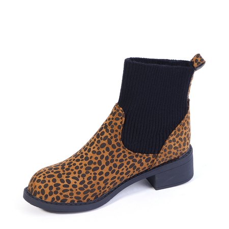 Yoins Leopard Slip-on Casual Ankle Boots