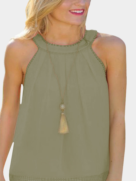 Green Hollow Out Back Lace Detail Tank Top